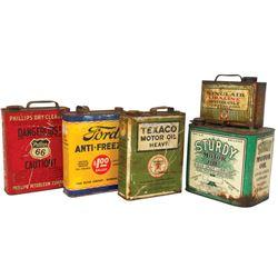 Petroliana motor oil & anti-freeze cans (5), Sinclair Opaline, Texaco, Sturdy, Phillips 66 & Ford An