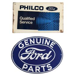 """Automotive signs (2), Ford Genuine Parts & Philco Ford Service, both metal, Exc & VG cond, 14.5""""H x"""