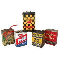 Petroliana motor oil cans (5), Grand Champion, 10 qt Imperial, Power, Penn-Champ 2000 Mile , Phillip