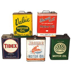Petroliana motor oil cans (5), Jaguar, Tidex, Value, Eastern State & Farwell O.K., all 2-gal cans in