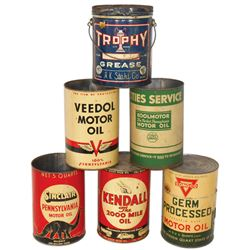Petroliana motor oil & grease cans (6), Sinclair Pennsylvania, Kendall, Conoco, Trophy 10 pail w/lid