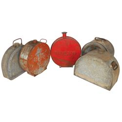 Petroliana oil & water cans (5), Boyco, Nesco (dated 1914) & embossed Volvo w/orig red paint, 3 have