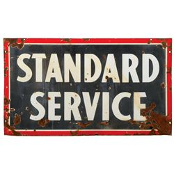 """Petroliana sign, Standard Service, 2-sided porcelain, Good cond on both sides w/some losses, 37""""H x"""