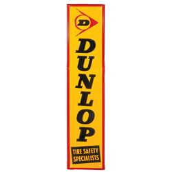 Automotive sign, Dunlop Tires, self-framed metal by A-M Inc.-Lynchburg, VA 8-67, Exc cond w/a few so