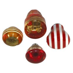 Automotive shifter knobs (4), Bakelite, Lucite & plastic, one shows early auto under face & one show