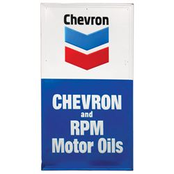 """Petroliana sign, Chevron & RPM Motor Oils, embossed metal in VG/Exc cond, 56""""H x 32""""W."""