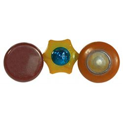 Automotive shifter knobs (3), Bakelite w/jewel on face, Bakelite w/removable insert for photo & one