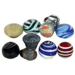 Automotive steering wheel & shifter knobs (8), swirled glass shifter knobs (6) & plastic steering wh
