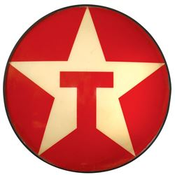 "Petroliana sign, Texaco light-up w/metal frame & convex plastic face, VG/Exc cond, 34""Dia x 6""D."