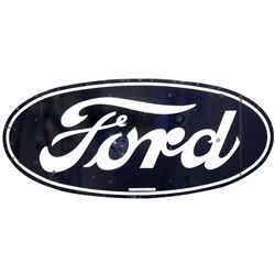Automotive sign, Ford, porcelain oval by Meyers Outdoor Adv. Inc.-Mpls., Good cond w/some touch-up p