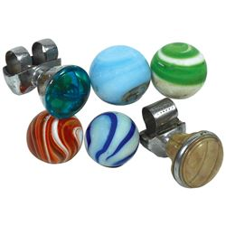 Automotive steering wheel & shifter knobs (6), swirled glass shifter knobs (4) & Lucite & plastic st