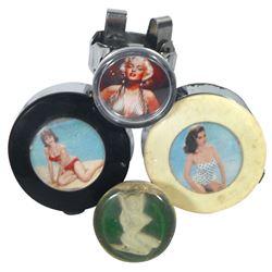 Automotive palm spinners, steering wheel & shifter knobs (4), all w/pretty girls, Lucite & plastic,