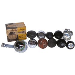 Automotive compass, steering wheel & shifter knobs (11), metal, rubber & plastic shifter knobs (9),