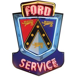 """Automotive sign, Ford Service, 3-color neon on diecut metal, Exc working cond, 45""""H x 32""""W."""