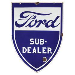 Automotive sign, Ford Sub-Dealer, porcelain shield, marked Eigendom N.V. Nederlandsche Ford, VG cond