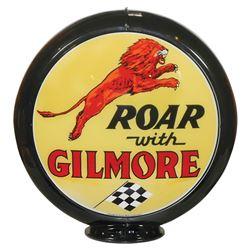 Petroliana, Gilmore Gasoline globe, plastic body w/curved glass lenses, great Gilmore Lion graphic o