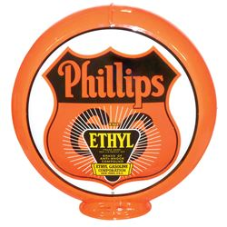 Petroliana, Phillips 66 Ethyl Gasoline globe, plastic body w/curved glass lenses, very colorful, Exc