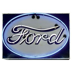 """Automotive sign, Ford, 2-color porcelain w/oval neon, VG working cond, 25""""H x 39""""W."""