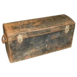Automotive luggage trunk for Model T Ford, made to fit over running board, steel w/domed lid & handl