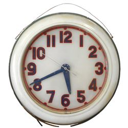 """Gas station neon clock, metal w/plastic face, VG non-working cond, 26""""Dia."""