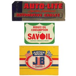 """Petroliana top signs (3), Auto-Lite, Savoil & Justice Bros., all metal in Good & VG cond, up to 16""""H"""