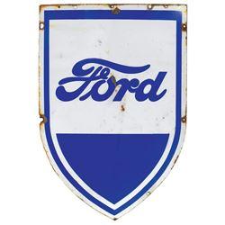 "Automotive sign, Ford, diecut porcelain shield, VG cond, 41""H x 28""W."