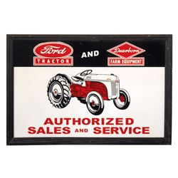Farm equipment sign, Ford Tractor & Dearborn Farm Equipment, embossed metal in orig wood frame, Exc