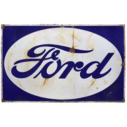 """Automotive sign, Ford, porcelain, by Veribrite Sign Co.-Chicago, Good/VG cond, 25""""H x 39""""W."""