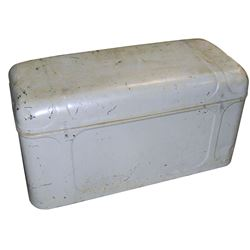 Automotive luggage trunk, orig label reads Steel Craft Luggage Carrier, American Steel Products Co.-