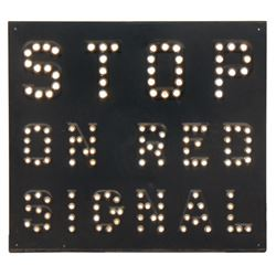 """Railroad sign, """"Stop on Red Signal"""", stamped steel w/reflective jewels, Exc cond, 23""""H x 25.5""""W."""