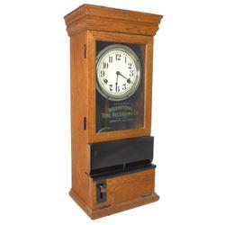 "Time clock, International Time Recording Co.-Endicott, NY, oak case, Exc cond, 32""H x 14""W."