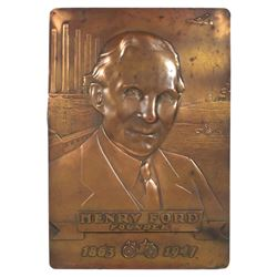 Automotive dealership plaque, Henry Ford, Founder, 1863-1947, embossed copper w/great detail of city