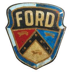 Automotive sign, Ford, wood shield from Ford dealer in Orleans, IN, c.1949-1954, Good cond w/wear, a
