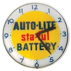 Automotive clock, Auto-Lite Battery, metal light-up, mfgd by Lackner, missing bulb cover plate on ba