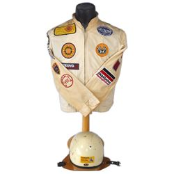 Automobile racing jacket & Buco helmet, yellow cotton Finish Line brand jacket w/24 racing patches d