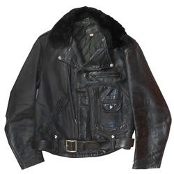 Motorcycle jacket, Buco, horsehide leather w/snap-on fur collar, made by Joseph Buegeleisen Co.-Detr
