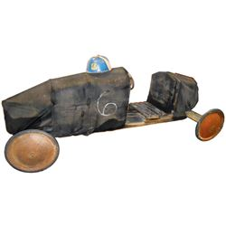 """Soap Box Derby car & helmet, car is wood & fabric w/rubber on metal wheels marked """"Official Soap Box"""