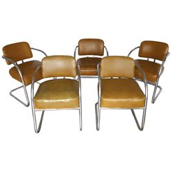 Mid-Century Modern spring chairs (5), mfgd by The Howell Co.-Geneva, IL, chrome w/gold vinyl upholst