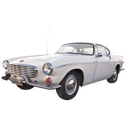 Automobile, 1965 Volvo P-1800 Coupe. White with new black interior.  Four-cylinder engine with 4-spe