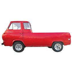 Pick-Up, 1962 Ford Econoline Van Pick-Up.  Red with black interior. Six-cylinder engine with manual