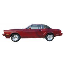 Automobile, 1978 Ford Mustang II Ghia Coupe.  Maroon with black interior. 5.0L V-8 with automatic tr