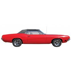 Automobile, 1970 Mercury Cougar RX7 Convertible.  red with black interior. 351 Windsor (V-8) engine.