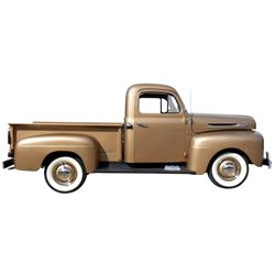 Pick-Up, 1950 Ford F-1. Gold color with brown interior. 238 Flathead V-8.  Manual trans. Highly orig