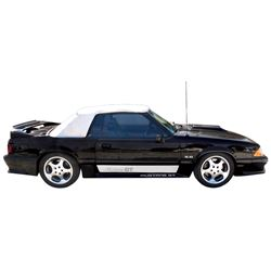 Automobile, 1990 Ford Mustang 5.0 GT Convertible.  Classic black, white top with 5.0 V-8, 5 speed. P