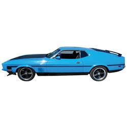 Automobile, 1972 Mustang Mach I Coupe.  Grabber blue with blue interior. 351 Cleveland 4V Q code (re