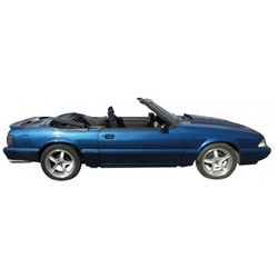 Automobile, 1992 Mustang Convertible.  Dark blue. Fresh re-built 5.0 V-8 hi-perf. Holley fuel inject
