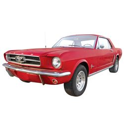 Automobile, 1965 Ford Mustang Coupe. Red with white interior. Six-cylinder, newly rebuilt engine (20