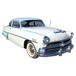 Automobile, 1954 Hudson Hornet Special Two Door.  White and baby blue two-tone.  Straight 8 with Hyd
