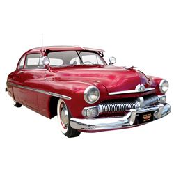 Automobile, 1950 Mercury 2-Dr Sedan.  Dramatic deep burgundy with new deep red pleated cloth interio