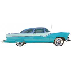 Automobile, 1955 Ford Crown Victoria.  Classic glass top. Two-tone aqua blue paint with aqua and whi